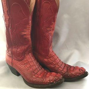 Shoes - Ladies Vintage Hot Red Hornback Alligator Boots